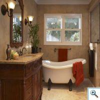 Столешница и облицовка стен из мрамора в ванной